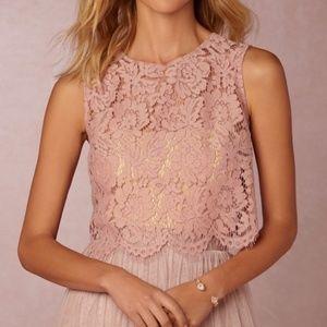 BHLDN Jenny Yoo Cleo Floral Lace Crop Top Sz L